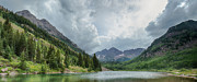 Grey Clouds Framed Prints - Pyramid Peak and The Maroon Bells Framed Print by Adam Pender
