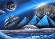 Spray Paintings - Pyramid planets blues  by Norman Seagrave