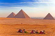 Northern Africa Digital Art Prints - Pyramids and Camels Print by Matthew Bamberg