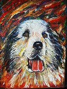 Napa Mixed Media Posters - Pyrenean Mountain Dog Poster by Anastasis  Anastasi