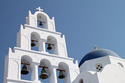 White Walls Framed Prints - Pyrgos Church Santorini Greek Islands Framed Print by Carole-Anne Fooks