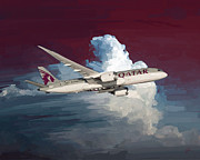 Qatar Digital Art Framed Prints - Qatar 787 Dreamliner Framed Print by Nop Briex