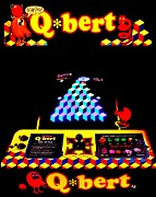 80s Framed Prints - Qbert Eats Quarters Framed Print by Benjamin Yeager