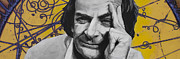 Cosmos Painting Posters - QED- Richard Phillips Feynman Poster by Simon Kregar