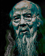Old Face Framed Prints - Qi Baishi Framed Print by Byron Fli Walker