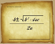 Calculus Digital Art Posters - Quadratic Equation - aged Poster by Paulette Wright