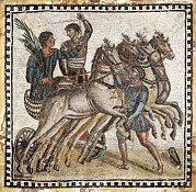 Roman Sport Posters - Quadriga Race. 3rd C. Roman Art. Early Poster by Everett