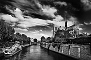 Black And White Paris Posters - Quai de Montebello and Notre Dame Cathedral / Paris Poster by Barry O Carroll