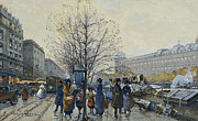 19th Century Framed Prints - Quai Malaquais Paris Framed Print by Eugene Galien-Laloue