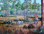 Quail Paintings - Quail Hunting...A Southern Tradition. by Daniel Butler