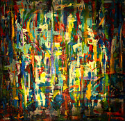 Abstract Colorful Paintings - Quail Will Be Fine by Sean Hagan