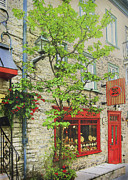 Painterly Photography Posters - Quaint Shops Quebec City Poster by Ann Powell