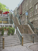 Quebec Art Prints - quaint  street scene  photograph THE BREAKNECK STAIRS of QUEBEC CITY   Print by Ann Powell