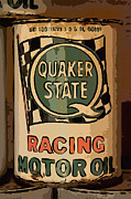 Quaker Posters - Quaker State Oil Can Poster by Carrie Cranwill