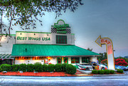 Quaker Art Prints - Quaker Steak and Lube Restaurant Night Shot - Kentucky - HDR Print by David Rigg