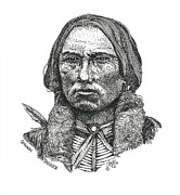 Indian Ink Prints - Quanah Parker Print by Clayton Cannaday