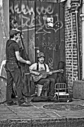 Street Performers Prints - Quarter Blues monochrome Print by Steve Harrington
