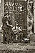 Street Performers Prints - Quarter Blues sepia Print by Steve Harrington