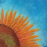 Quirky Pastels Prints - Quarter Sun Flower Print by Naomi Ball