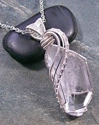 Wire-wrapped Jewelry Originals - Quartz Crystal and Silver Wire-Wrapped Pendant - Model I by Heather Jordan