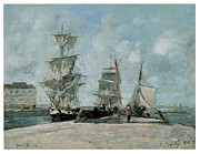 Sailing Ship Prints - Quay at Honfleur Print by Eugene Boudin