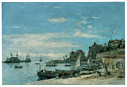 Villefranche Framed Prints - Quay at Villefranche Framed Print by Eugene Boudin