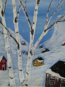 Quebec Paintings - Quebec -Cabins by Beverly Livingstone