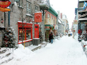 Thomas R Fletcher Framed Prints - Quebec City in Winter Framed Print by Thomas R Fletcher