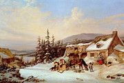 Snowfall Framed Prints - Quebec Framed Print by Cornelius Krieghoff