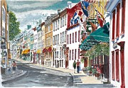 People Walking Prints - Quebec Old City Canada Print by Anthony Butera