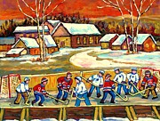 Hockey Rinks Paintings - Quebec Rink Hockey Village Scene Canadian Winter Landscape Hockey Practice Orange Sky Carole Spandau by Carole Spandau