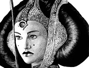 Gold Drawings Prints - Queen Amidala Print by Kayleigh Semeniuk