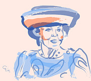 Famous People Paintings - Queen Beatrix by Go Van Kampen