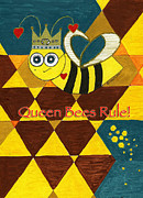 Nectar Mixed Media Posters - Queen Bee Poster by Christy Woodland