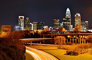 Charlotte Photo Prints - Queen City at Night Print by Chris Gonyar