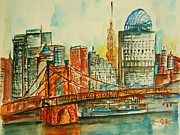 Ohio River Painting Posters - Queen City Skyline Cincinnati OH Poster by Elaine Duras