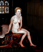 Karine Percheron-daniels Prints - Queen Elizabeth I Seated Nude Print by Karine Percheron-Daniels