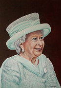 Queen Elizabeth Paintings - Queen Elizabeth II 2012 by Karen  Loughridge
