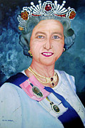 Lady Diana Framed Prints - Queen Elizabeth II Framed Print by Aliya Abbas