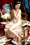 Karine Percheron-daniels Prints - Queen Elizabeth Ii Nude Portrait Print by Karine Percheron-Daniels