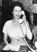 Trans-atlantic Posters - Queen Elizabeth On The Phone Poster by Underwood Archives