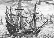 Boat Drawings Prints - Queen Elizabeth s Galleon Print by English School