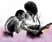 Art Lithographs Framed Prints - Queen  Freddie Mercury and Brian May Framed Print by Iconic Images Art Gallery David Pucciarelli