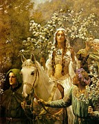 Collier Painting Posters - Queen Guinevere - Maying Poster by Pg Reproductions
