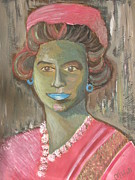 Queen Elizabeth Paintings - Queen in Green by Mercedes  Hall