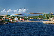 Colonial Framed Prints - Queen Juliana Bridge  Queen Emma Bridge Curacao Framed Print by Amy Cicconi
