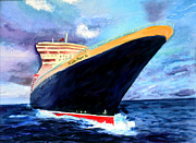Liner Painting Originals - Queen Mary 2 by Donna Walsh
