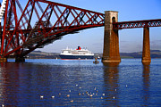 Printed Prints - Queen Mary at Forth Bridge Print by Craig Brown