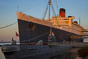 Shipping Posters - Queen Mary At Sunset Poster by Garry Gay