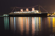 Yellow Line Prints - Queen Mary Decked Out For The Holidays Print by Heidi Smith
